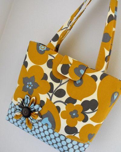 Gold blue grey bag