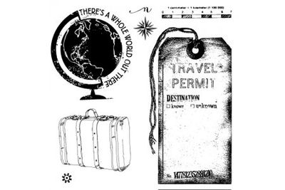 Vintage travel stamp set